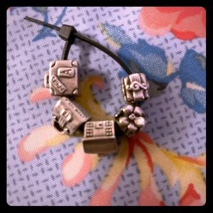 Trollbeads 5 Suitcase Home Purse Music flowers lot